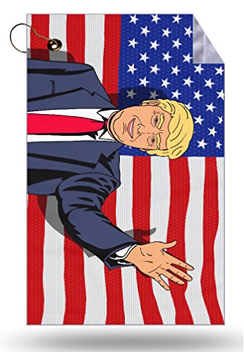 Trendy Accessories American Flag Caricature Cartoon President Caricature Microfiber Velour 11x18 Golf Bag Towel with Grommet and Clip