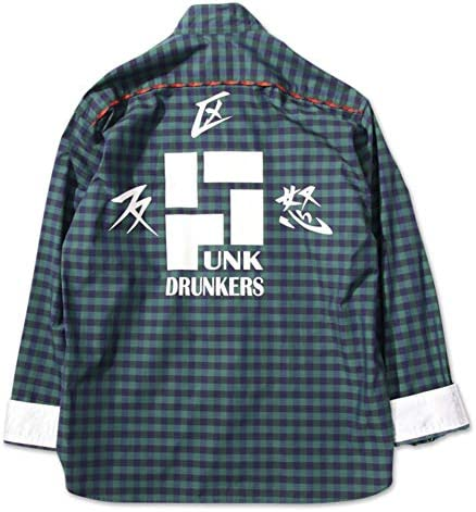 パンクドランカーズ PUNK DRUNKERS チャイナチェックシャツ(GREEN)