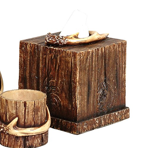 Black Forest Decor Buck Mountain Antler Rustic Tissue Box - Cabin Bathroom Accessories