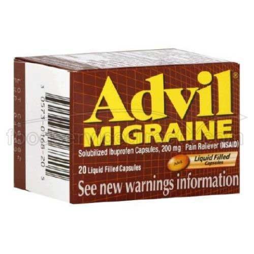 Advil Migraine Liquid Filled Softgel Caplet, 200 Milligram - 6 box per pack -- 12 packs per case.