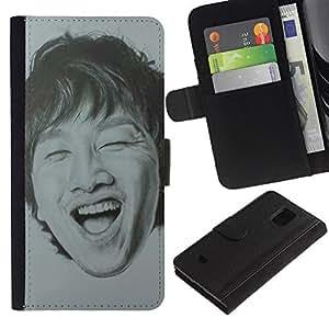APlus Cases // Samsung Galaxy S5 Mini, SM-G800, NOT S5 REGULAR! // China Retrato Hombre Reírse Dientes // Cuero PU Delgado caso Billetera cubierta Shell Armor Funda Case Cover Wallet Credit Card