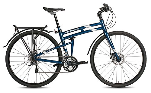 Bike Folding Montague (New 2017 Montague Navigator Folding 700c Hybrid Bike Midnight Blue 21
