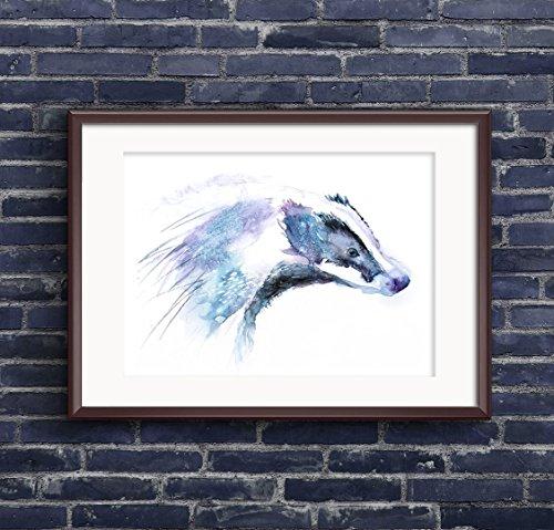Original Signed Watercolor (Fine Art Print of My Original Badger Watercolor Painting Signed A3 A4 Wildlife Animal)
