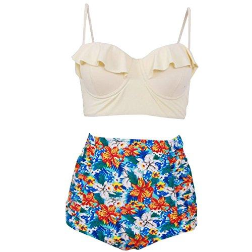 FY Damen Bikini Set Retro Blumen Frauen Badeanzug High Waisted Badeanzüge Swim Halter Push Up Badeanzüge