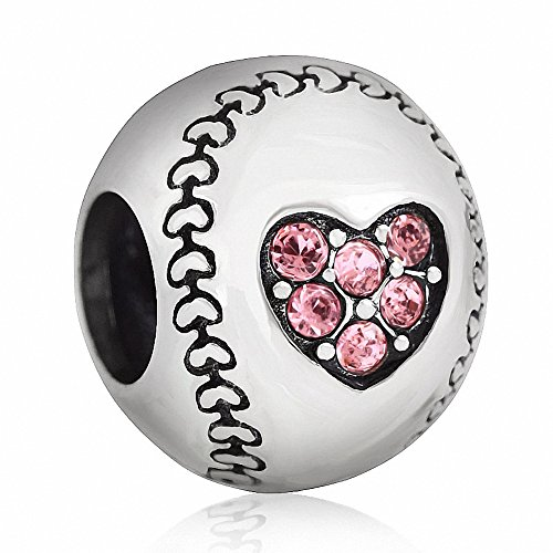 SOUKISS Love Baseball Charms 925 Sterling Silver Birthstone Crystal Sports Charm for European Bracelet (Pink)