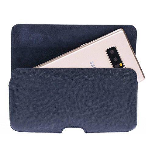 Burkley Case Leather Magnetic Belt Clip Holster for Apple iPhone 8 Plus / 7 Plus/Note 8   Hand-Wrapped in Premium Turkish Leather (Saffiano Navy Blue) ()