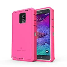 Zerolemon Samsung Galaxy Note 4 Rugged Grey and Pink ZeroShock Hybrid Case [Battery NOT Included] (Compatible with S Beam, Google Wallet)