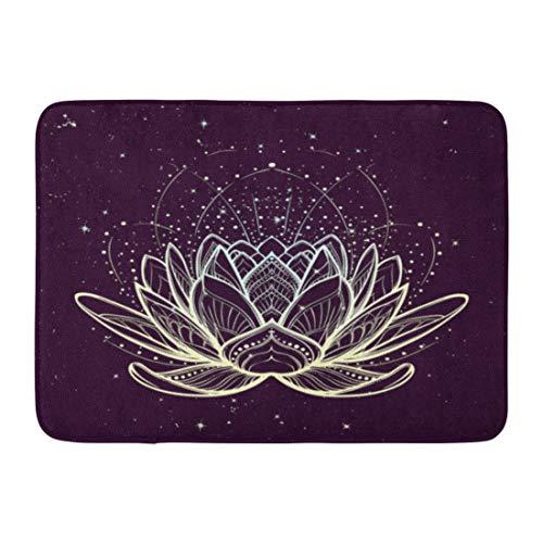 (Emvency Doormats Bath Rugs Outdoor/Indoor Door Mat Lotus Flower Intricate Linear Drawing on Starry Nignt Sky for Hindu Yoga and Spiritual Designs Tattoo Bathroom Decor Rug Bath Mat 16