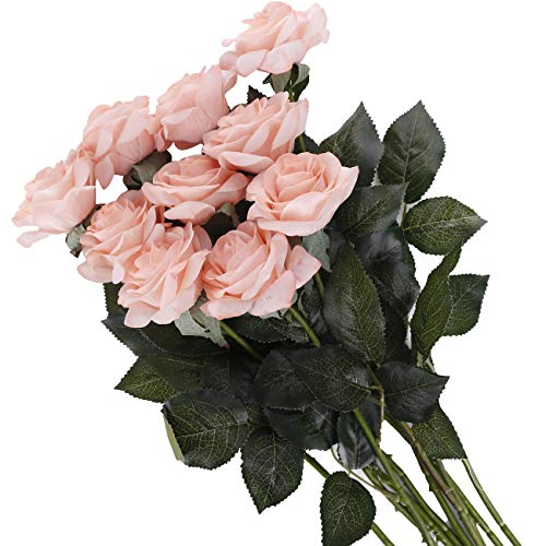 Pauwer 12PCS Moisturizing Real Touch Latex Artificial Rose Flower with Stems Silk Rose Bridal Bouquets for Wedding Arrangement Home Party Decoration (12, Peach Pink)