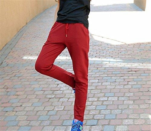 QIYUN.Z Las Nuevas Mujeres De La Cintura Del Lazo Largos Pantalones Rectos Solidos Pantalones Ocasionales De Los Deportes Vino Tinto