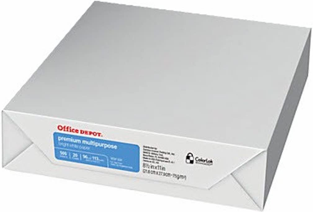 Office Depot Multipurpose Paper, 8 1/2 x 11, 20 Lb, 96 Bright, 500 Sheet Ream