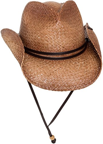 Peter Grimm Straw Round Up Cowboy Hat w/Leather Strap (Tea ()