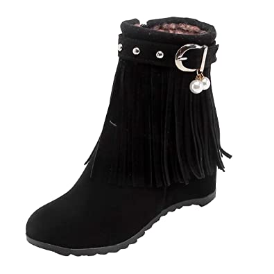 70526f989b1cca UH Damen Keilabsatz Stiefeletten Ankle Boots mit Fransen und Fell Vintage  Retro Bequeme Herbst Winter Schuhe