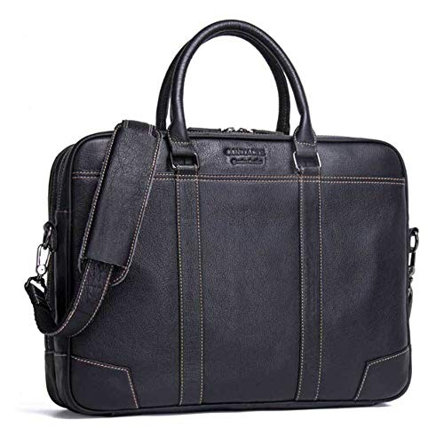 Borsa a tracolla in pelle da uomo in carriera Black