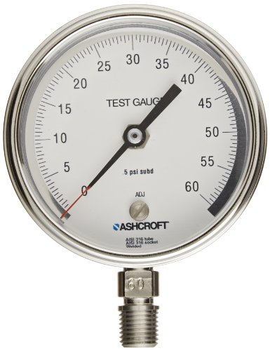Ashcroft Type 1084 Stainless Steel Pocket Test Gauge with Bourdon Tube and Socket, 1/4' NPT Lower Connection, 3' Dial Size, 0/60 psi Range