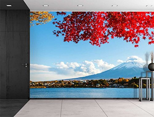 wall26 Mount Fuji Across a Lake Being Framed by a Red Tree - Wall Mural, Removable Sticker, Home Decor - 66x96 inches - Fuji Framed