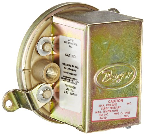 """Dwyer Series 1900 Compact Low Differential Pressure Switch with Conduit, Range 0.07-0.15""""WC"""