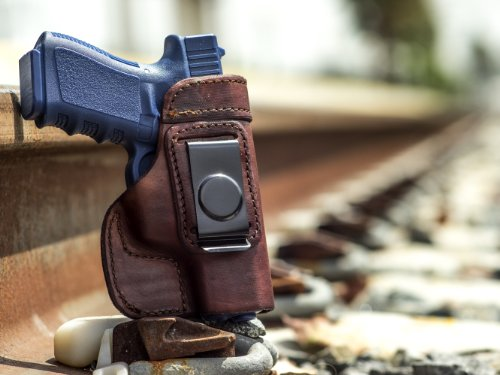 OUTBAGS LOB2S-G19 (BROWN-RIGHT) Genuine Leather IWB Conceal Carry Gun Holster for Glock 19 G19 9mm / Glock 23 G23 .40 / Glock 32 G32 .357 / Glock 38 G38 .45GAP. Handcrafted in USA.
