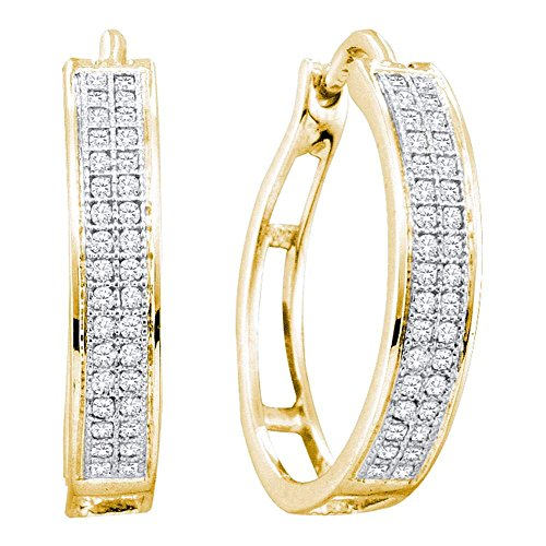 10k Yellow Gold Round Diamond Pave Set Hoop Huggie Earrings - 17mm Height 4mm Width (1/5 ()
