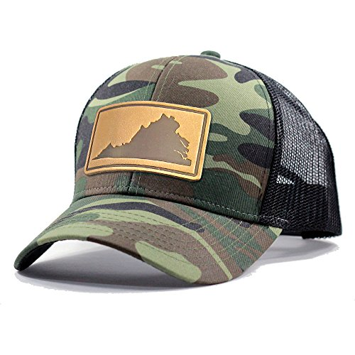 (Homeland Tees Men's Virginia Leather Patch Army Camo Trucker Hat - Army Camo)