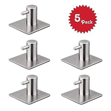 Ganchos adhesivos, Beeway® 10 unidades colgador de pared acero inoxidable 3 m adhesivo para cocina baño oficina armario – resistente al agua, no ...
