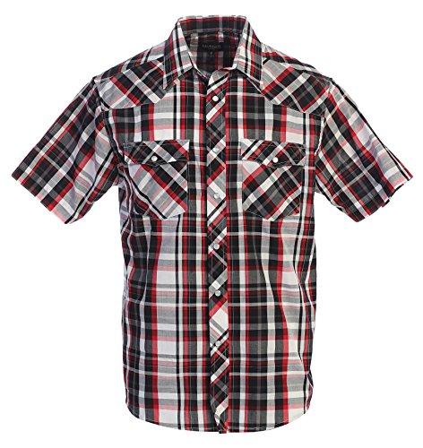 White Plaid Button - Gioberti Men's Plaid Western Shirt, Black/Red/White, Medium