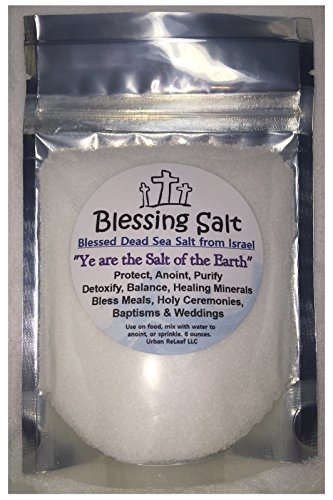 BLESSING SALT! Blessed Dead Sea Salt from Israel. Holy Ceremony Wedding Anointing Baptism Meals Housewarming, Healing Minerals, 6 oz (Heavens Blessings God)