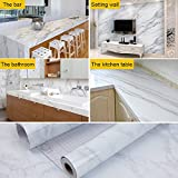 AROIC Marble Contact Paper - Granite Gray/White Roll Kitchen countertop Cabinet Furniture is renovated Thick Waterproof PVC