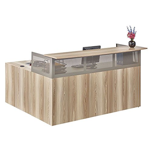 (At Work Reception L-Desk with Reversible Return Warm Ash Laminate/Brushed Nickel Painted Steel Frame Dimensions: 74.25