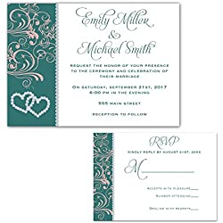 100 Wedding Invitations Rhinestone Diamond Teal Pink Design + Envelopes + Response Cards Set