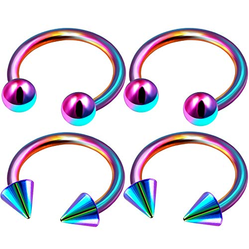Cone Horseshoe Ring - 4Pcs Rainbow Anodized 1/4 6mm 14 g Horseshoe Ring Piercing Jewelry Eyebrow Cartilage Nose Septum Tragus 4mm Ball Cone M4975