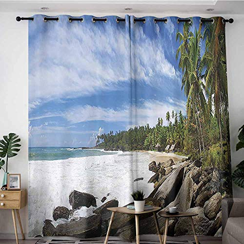 Onefzc Doorway Curtains,Seaside Decor Collection Tropical Seashore on Sri Lanka with Palms Hanging Over The Mighty Stones Washed by Sea Picture,Grommet Curtains for Bedroom,W72x108L,Blue Ivory Green
