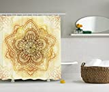 Mandala Shower Curtain Decor by Ambesonne, Ethnic Doodle Design Asian Art Traditional Pattern, Polyester Fabric Bathroom Shower Curtain Set with Hooks, 75 Inches Long, Beige Cream Brown