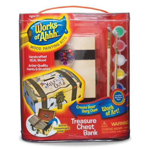 Works of Ahhh... Treasure Chest Coin Bank Wood Painting Kit ()
