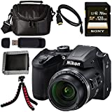 Nikon COOLPIX B500 Digital Camera (Black) 26506 + Sony 128GB SDXC Card + Flexible Tripod + Small Case + Card Reader + Memory Card Wallet + Micro HDMI Cable Bundle