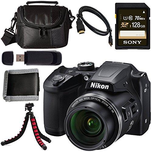 Nikon COOLPIX B500 Digital Camera (Black) 26506 + Sony 128GB SDXC Card + Flexible Tripod + Small Case + Card Reader + Memory Card Wallet + Micro HDMI Cable Bundle