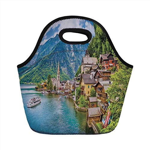 Portable Bento Lunch Bag,Wanderlust Decor,Famous Hallstatt Mountain Village With Lake Hallstatt in the Austrian Alps Print,for Kids Adult Thermal Insulated Tote Bags