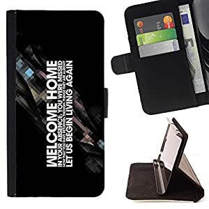 DEVIL CASE - FOR Sony Xperia Z1 Compact D5503 - cool motivating word art welcome home start living - Style PU Leather Case Wallet Flip Stand Flap Closure Cover