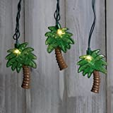 String Lights, Tropical Palm Trees, Outdoor, Green Wire, 11 ft., Plug In