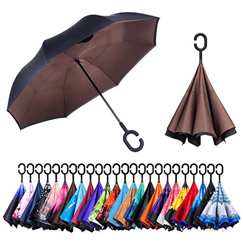 Newsight Reverse/Inverted Double-Layer Waterproof Straight Umbrellas, Self-Standing & C-Shape Handle & Carrying Bag for Free Hands, Inside-Out Folding for Car Users (Brown)