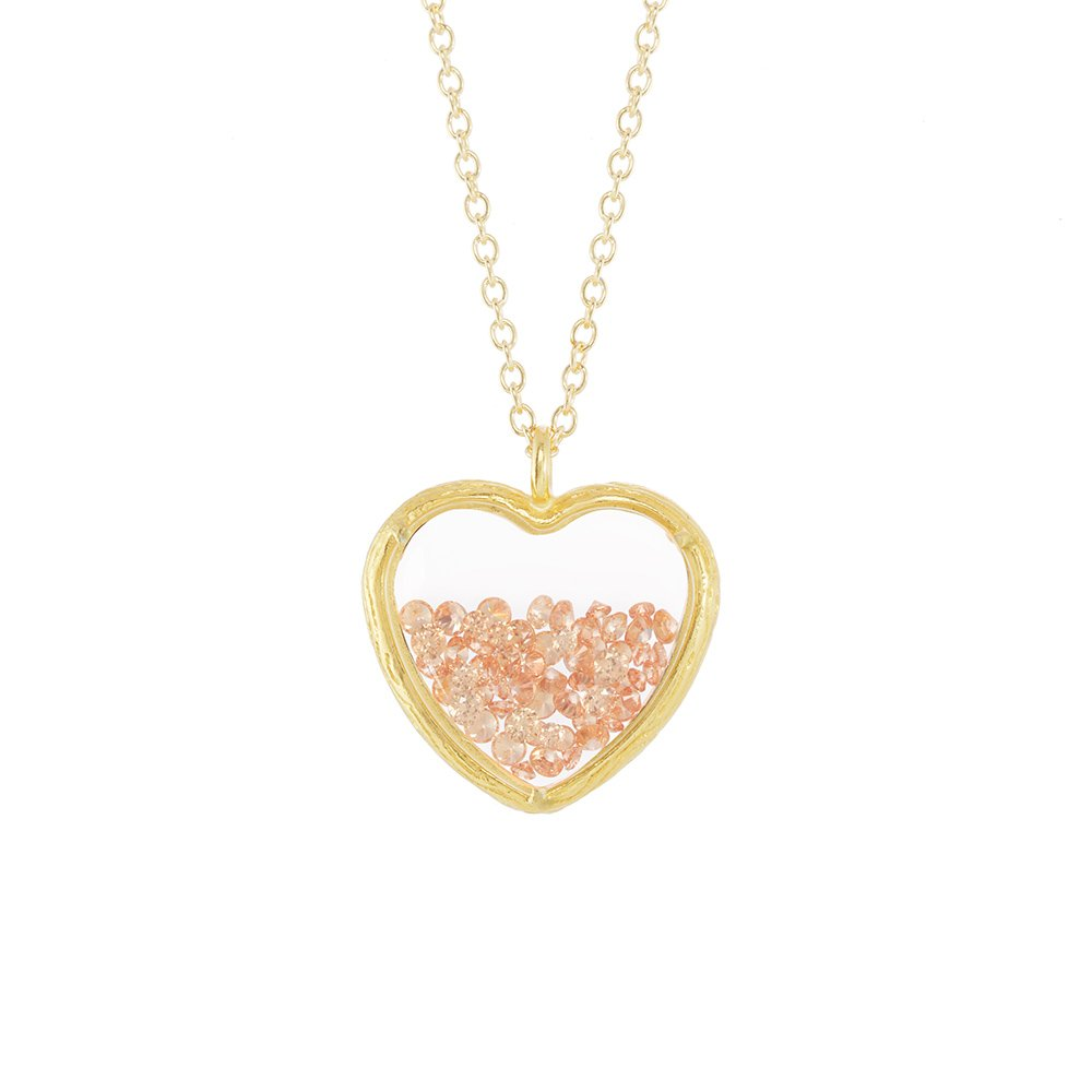 Crystal Heart Shaker Necklace (Gold Plated Champagne)