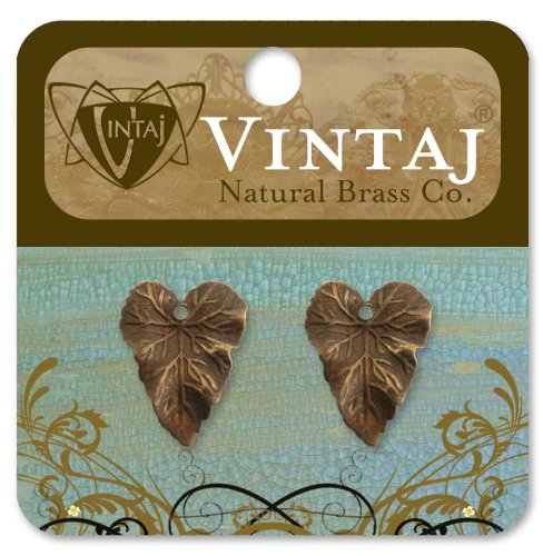 Vintaj 2-Piece Woodland Leaf Charm Decorative Pendant, 18 by 14mm