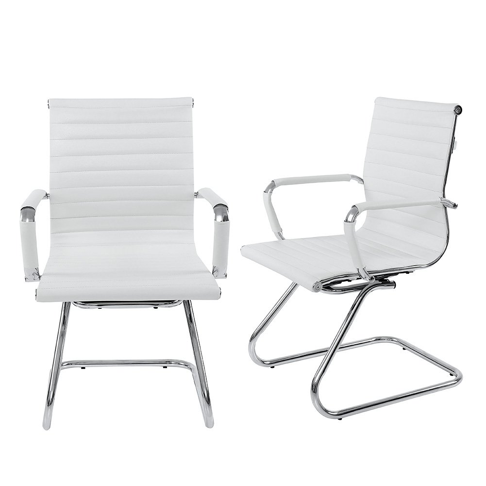 Wahson Heavy Duty Leather Office Guest Chair Mid Back Sled Reception Conference Room Chairs, Set of 2 (White) by Wahson (Image #1)