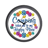 CafePress – Camping Happy Place – Unique Decorative 10″ Wall Clock For Sale