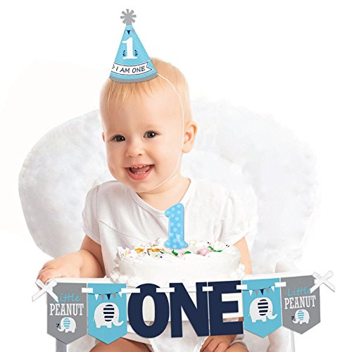 Big Dot of Happiness Blue Elephant 1st Birthday - First Birthday Boy Smash Cake Decorating Kit - High Chair Decorations