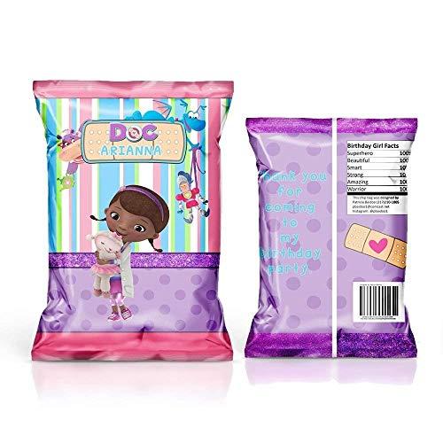 12 Personalized Chip Bags | Doc McStuffins Party | Doc McStuffins Birthday Supplies | Chip Bags for Party | Chip Bag Template | Doc McStuffins Party Favors | Doc McStuffins Birthday Favors