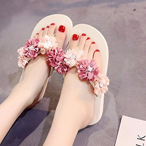 XZ British sandals flip shoes flops lovely flowers fashion slip beach summer anti bottomed thick White and LIUXINDA Sandals 4wd5Uxf4q