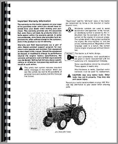 john deere 850 shop manual