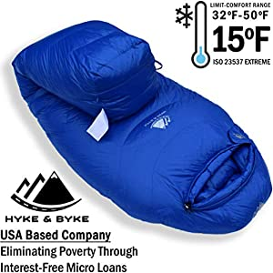 Hyke & Byke Quandary 15 Degree F 650 Fill Power Hydrophobic Down Sleeping Bag with Allied LofTech Base - Ultra Lightweight 3 Season Men's and Women's Mummy Bag Designed for Backpacking