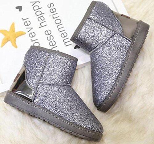 Idifu Dames Glitter Pailletten Platte Dikke Nepbont Gevoerde Pull Op Snowboots Winter Booties Grijs